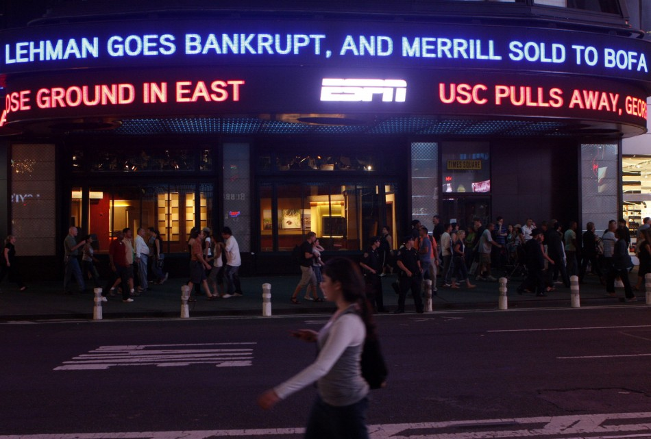 The Lehman Brothers name moves across a news ticker in New York's Times Square in this September 15, 2008 file photo. September 14, 2009 marks the one year anniversary of the bankruptcy filing of Lehman Brothers. Picture taken September 15, 2008.  (Photo: