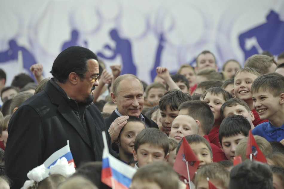 Seagal and Russian president Vladimir Putin at a sports complex in Moscow