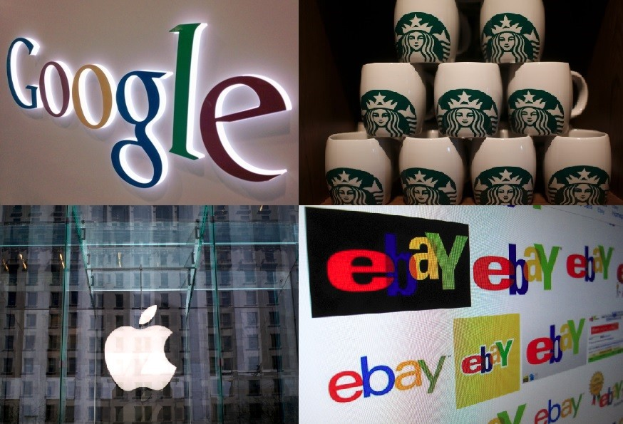 Google, Starbucks, Apple and Ebay are all companies that are being accused of agressive tax avoidance methods (Photos: Reuters)