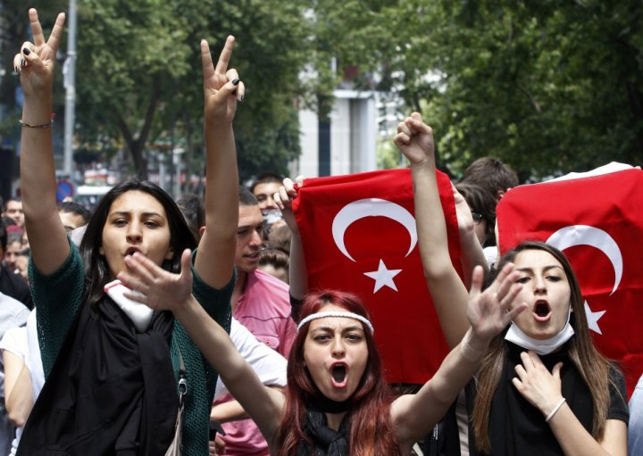 Protesters shout anti-government slogans during a demonstration in Ankara