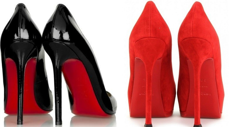 A Christian Louboutin shoe with its signature red sole
