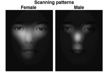 figure showing the scanning patterns of a female and a male when viewing the same face for the first time.