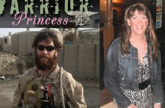 Chris Beck (l) as a Navy Seal and today as Kristin Beck