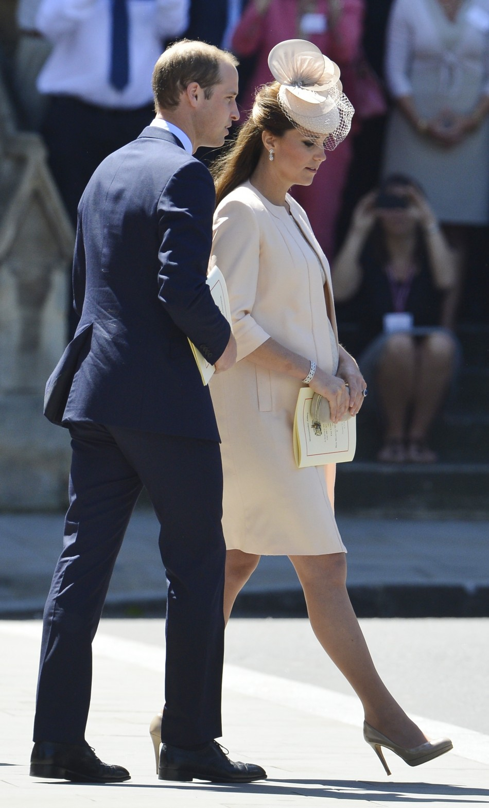 Prince William L and Catherine, Duchess of Cambridge depart Westminster Abbey after celebrating the 60th anniversary of Queen Elizabeths coronation in London June 4, 2013.