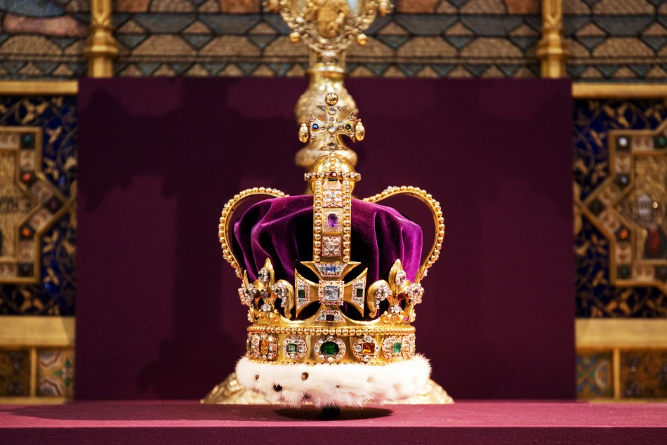 St Edwards Crown, which hasnt been outside the Tower of London for 60 years, is displayed during a service celebrating the 60th anniversary of Queen Elizabeths coronation at Westminster Abbey in London June 4, 2013.