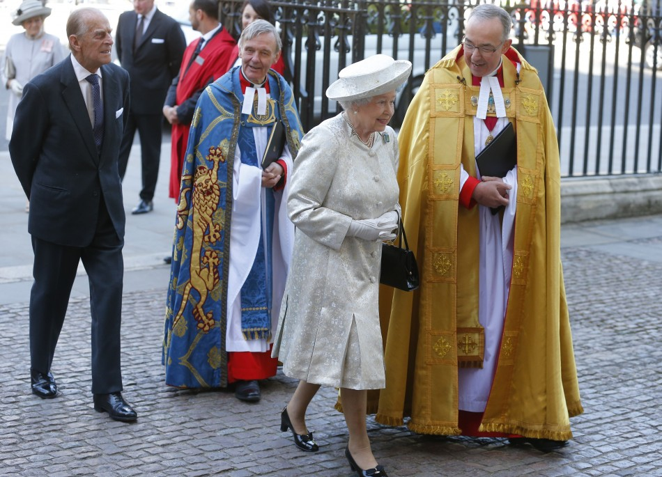 Queen Elizabeth arrives with Prince Philip L at Westminster Abbey to celebrate the 60th anniversary of her coronation in London June 4, 2013.