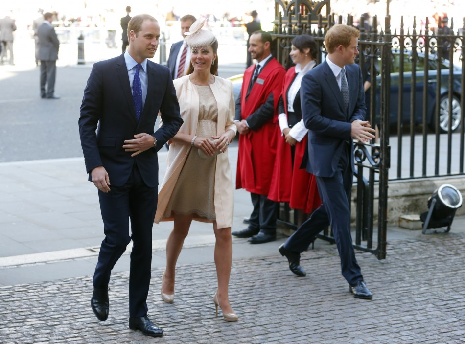 Prince William and Catherine, Duchess of Cambridge arrive with Prince Harry R at Westminster Abbey to celebrate the 60th anniversary of Queen Elizabeths coronation in London June 4, 2013.