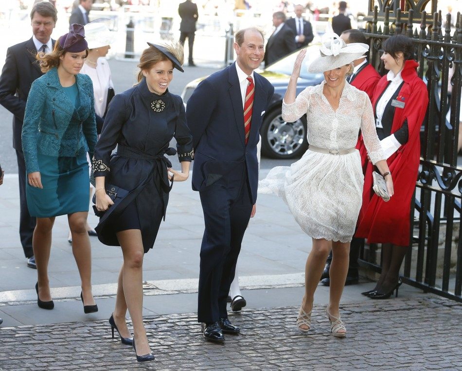Princess Beatrice, Princess Eugenie, Prince Edward and Sophie, Countess of Wessex L-R arrive at Westminster Abbey to celebrate the 60th anniversary of Queen Elizabeths coronation in London June 4, 2013.