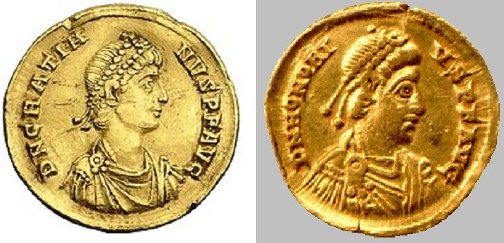 Roman coins with Emperors' Gratian (l) and Honorius