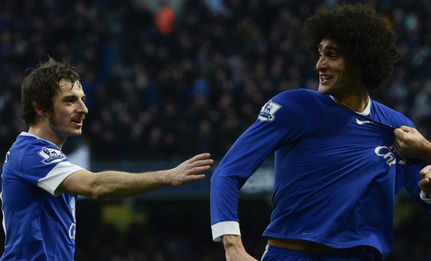 Leighton Baines and Marouane Fellaini