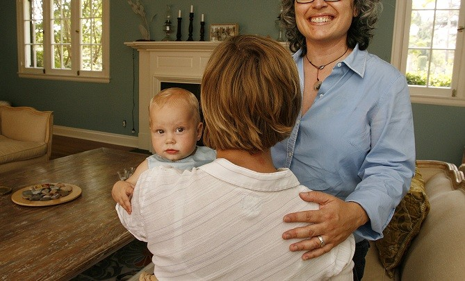Happy family: Lesbian couple with baby
