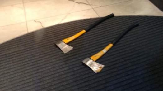 Axes on floor in Selfridges after raid