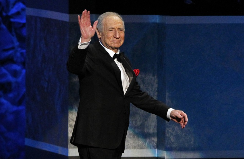 Producer and honoree Mel Brooks waves at the audience as he walks on stage during the American Film Institutes 41st Life Achievement Award Gala at the Dolby theatre in Hollywood, California June 6, 2013.
