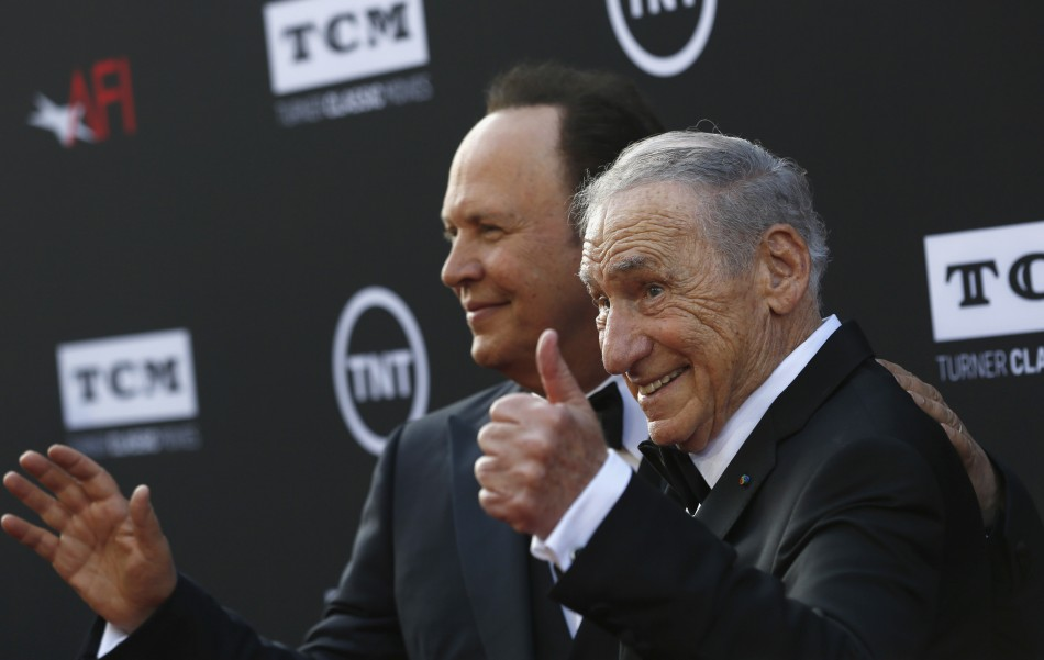 Producer and honoree Mel Brooks R poses with actor Billy Crystal at the American Film Institutes 41st Life Achievement Award Gala at the Dolby theatre in Hollywood, California June 6, 2013.