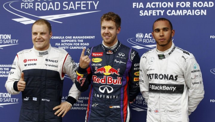 (From L to R) Valtteri Bottas, Sebastian Vettel and Lewis Hamilton