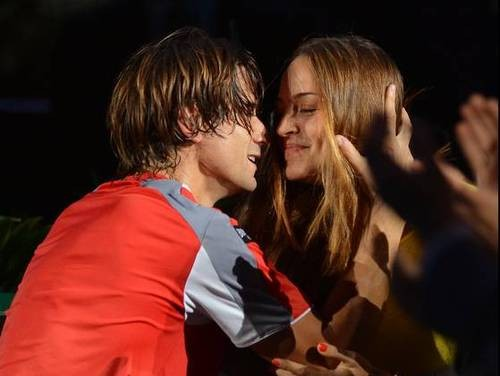 David Ferrer with long-term partner Marta Tornel