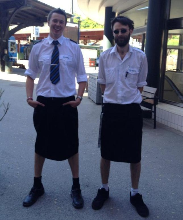 Swedish train drivers circumvent shorts ban by wearing skirts.