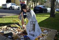 A makeshift tribute from wellwishers outside Nelson Mandela's home in Johannesburg