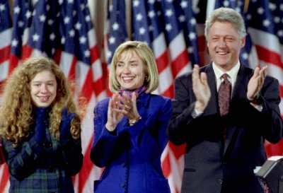 The Family  Back in 4 Nov. 1992 President - elect Bill Clinton with his wife Hillary c and his daughter Chelsea l reacts after the victory speech of Vice-President - elect Al Gore, November 3.