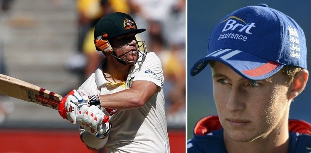 David Warner (l) and Joe Root