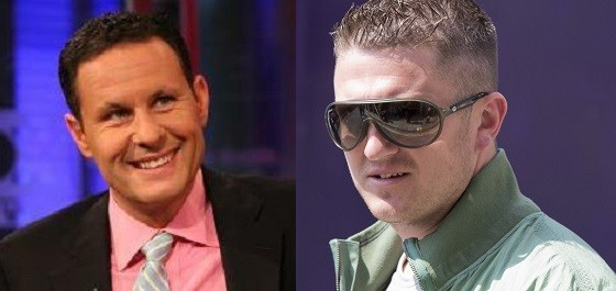 EDL's Tommy Robinson (L) was appearing interviewed by Fox News' Brian Kilmeade (Facebook/Reuters)