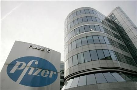 View of Belgian headquarters of US pharmaceutical giant Pfizer