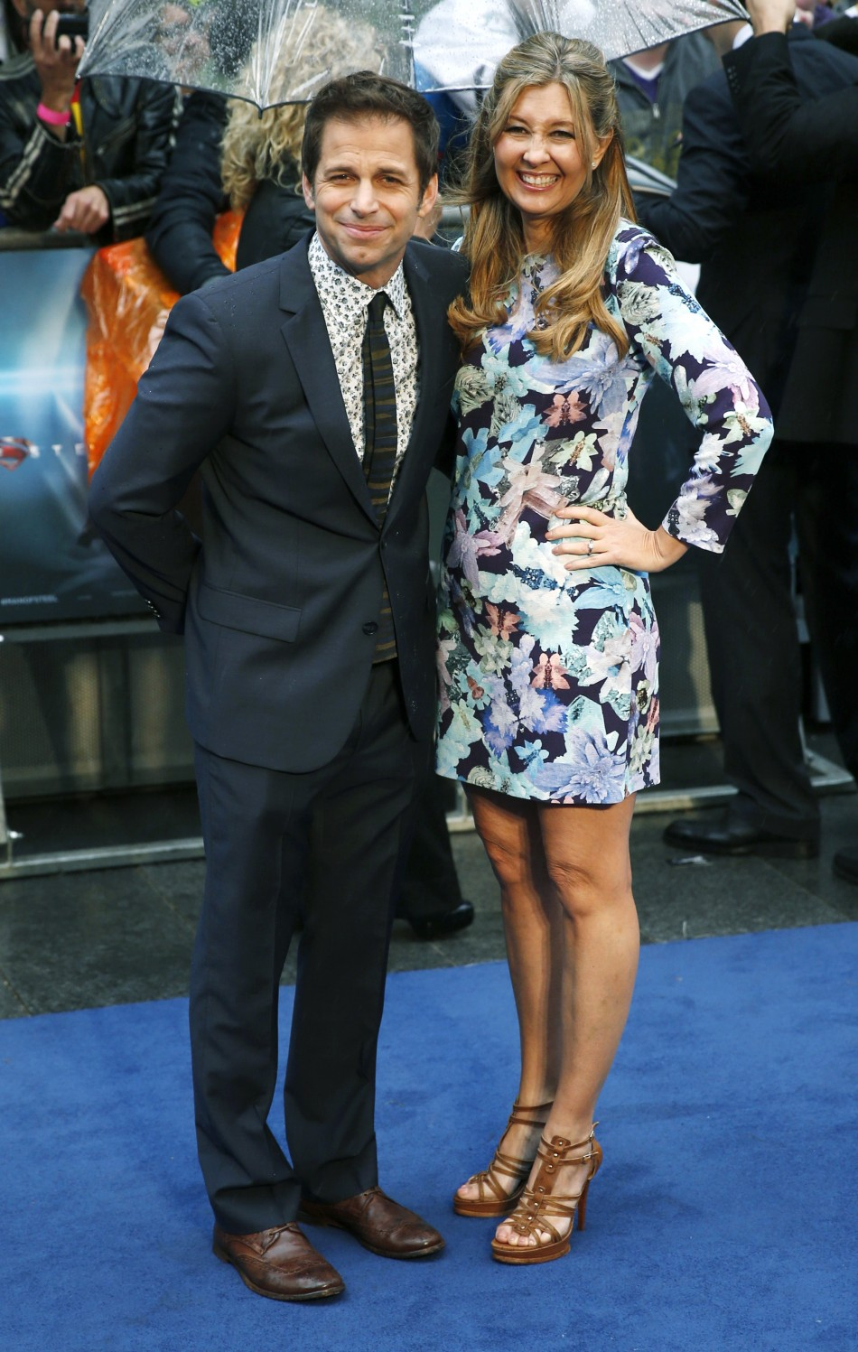 Director Zac Snyder and his wife Deborah arrive at the European Premiere of Man of Steel at a cinema in Leicester Square, central London, June 12, 2013.