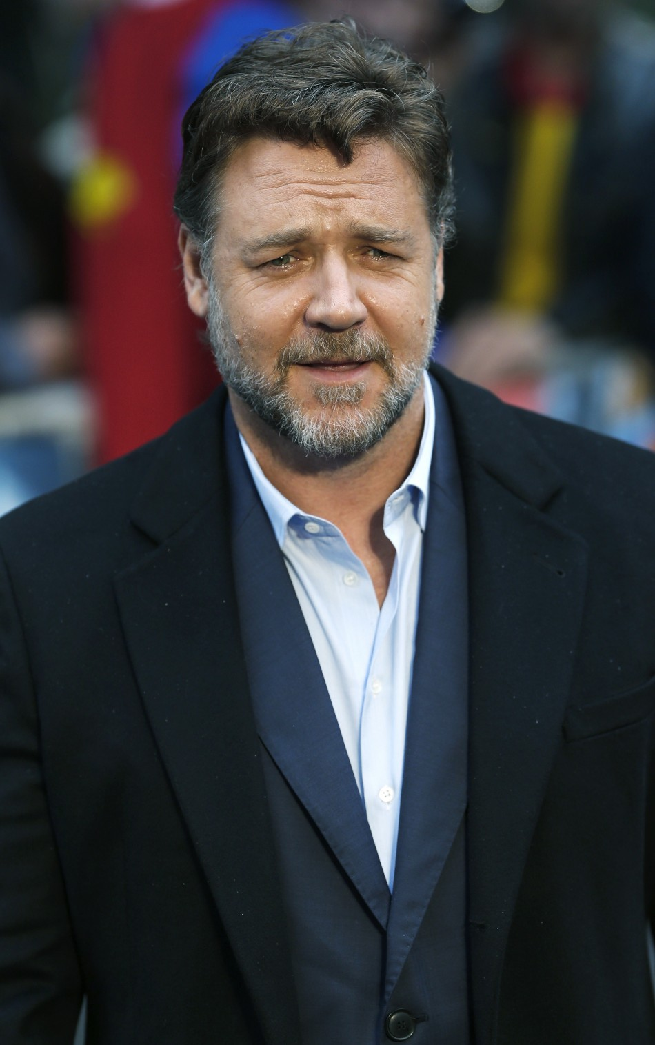 """Actor Russell Crowe arrives at the European Premiere of """"Man of Steel"""" at a cinema in Leicester Square, central London, June 12, 2013."""