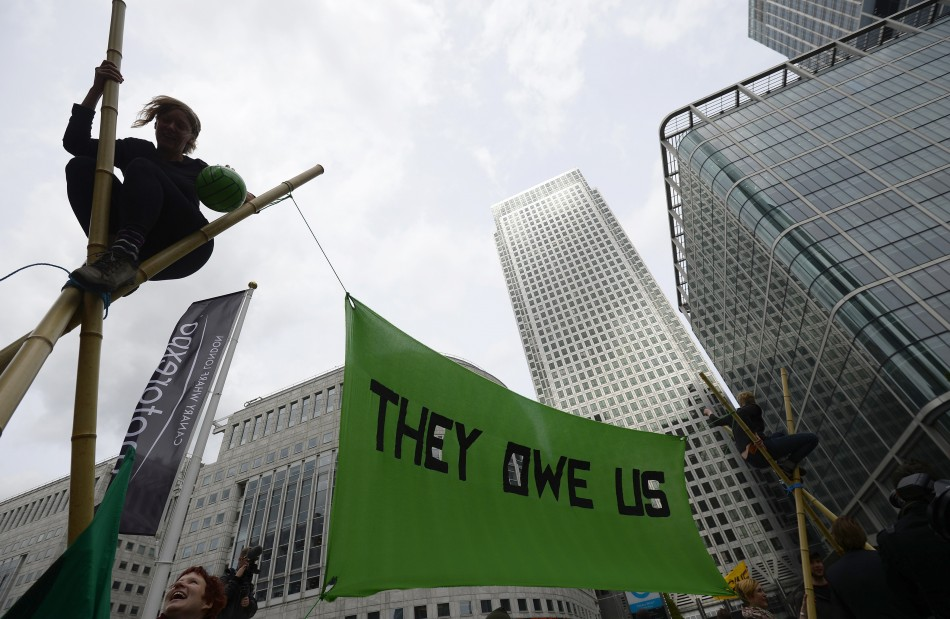 They Owe Us Canary Wharf protest