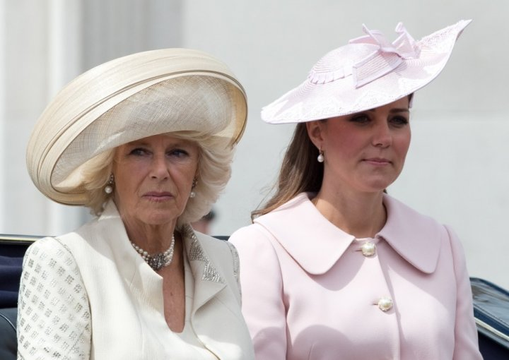 Catherine, Duchess of Cambridge travels to Horse Guards Parade for the Trooping the Colour ceremony in central London with Camilla, duchess of Cornwall