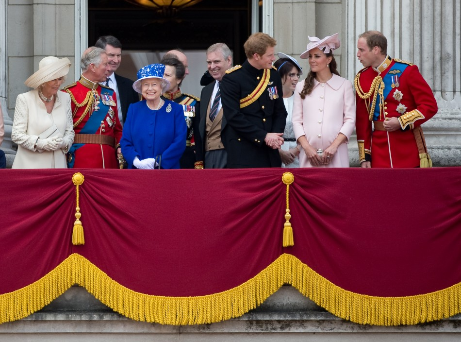 Queen Elizabeth (4th L) stands on the balcony of Buckingham Palace with Camilla, Duchess of Cornwall (L), Prince Charles (2nd L), Prince Andrew (5th R), Prince Harry (4th R), Prince William (R) and Catherine, Duchess of Cambridge after the Trooping the Colour ceremony