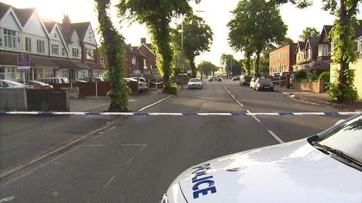 The scene of the crime in Birmingham where a police officer and three others were stabbed in a Mosque