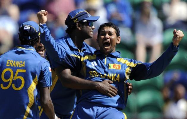 Dilshan celebrates a wicket for Sri Lanka. [Reuters]