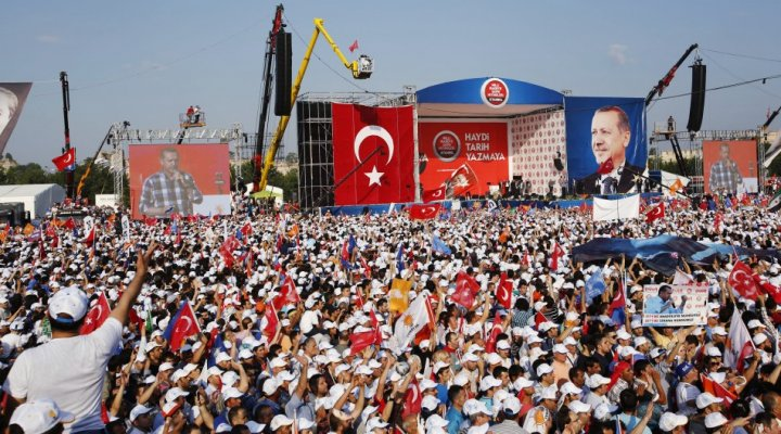 Turkish Prime Minister Tayyip Erdogan addresses his supporters during a rally by his ruling AK Party in Istanbul
