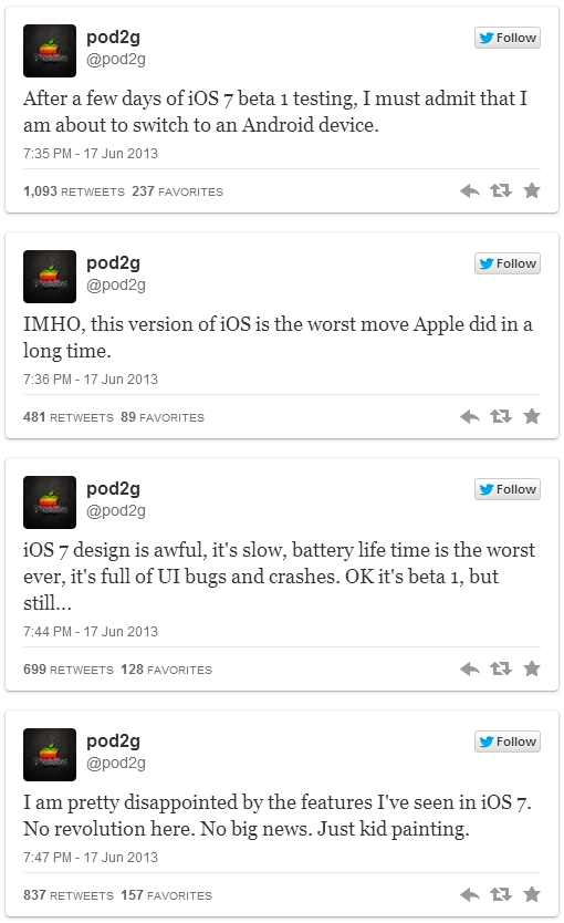 iOS 7 Features Disappoint Pod2g, Future of Untethered Jailbreaks Uncertain