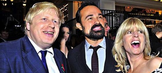 Boris and rachel Johnson with Evgeny Lebedev, centre