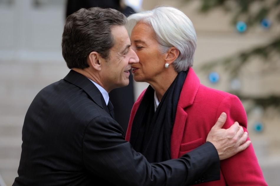 France's former president Francois Sarkozy with IMF chief Christine Lagarde