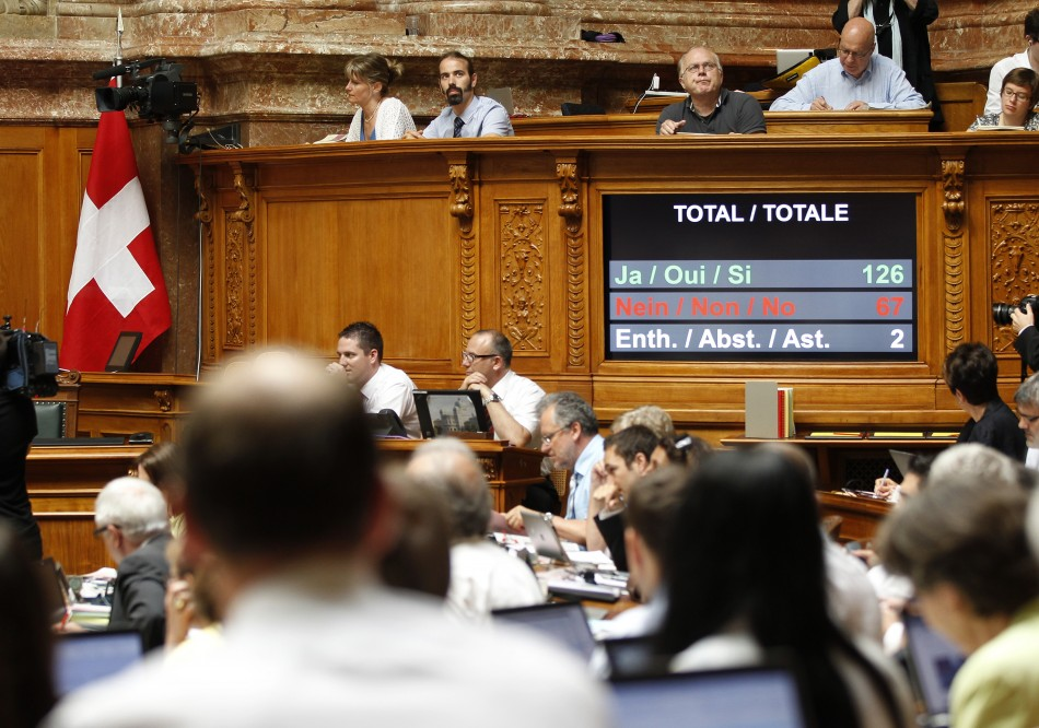 The National Council vote not to discuss the legislation of the Swiss - U.S. tax deal during their summer parliament session in Bern June 18, 2013. (Photo: Reuters)