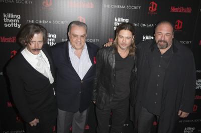 Killing Them Softly cast members Ben Mendelsohn left, Vincent Curatola, Brad Pitt and James Gandolfini