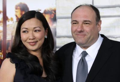 James Gandolfini with wife Deborah Lin pose at premiere of HBO Films Cinema Verite