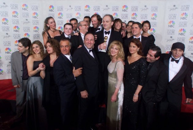 Gandolfini with the cast and crew of The Sopranos (Reuters)
