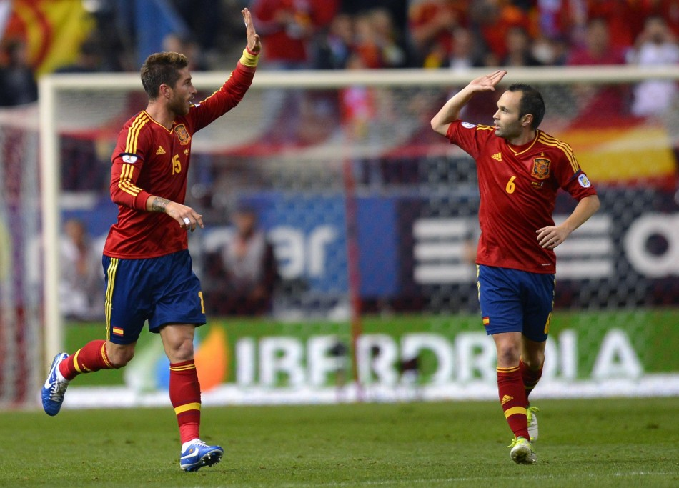 Sergio Ramos (L) and Andres Iniesta