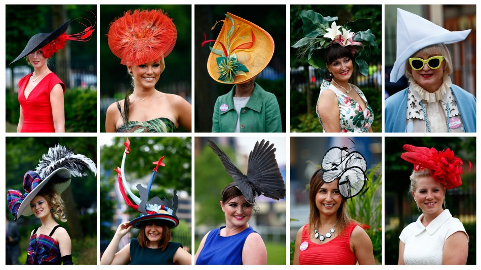 A combination photograph shows racegoers fashion as they arrive for Ladies Day at the Royal Ascot