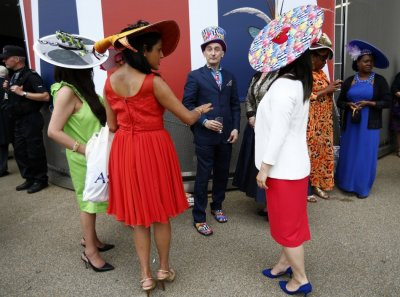 Race goers attend the first day of the Royal Ascot horseracing festival