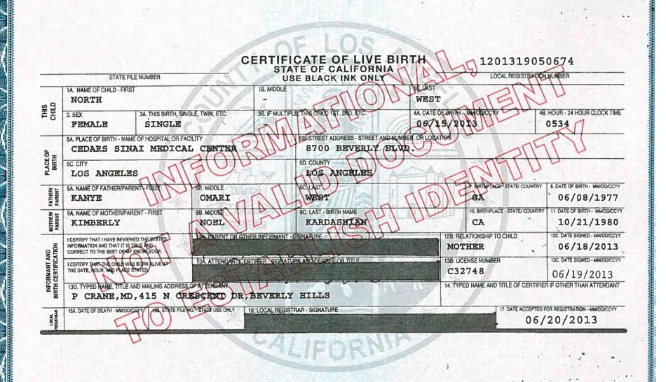 North West's Birth Certificate