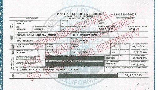 North West's Birth Certificate
