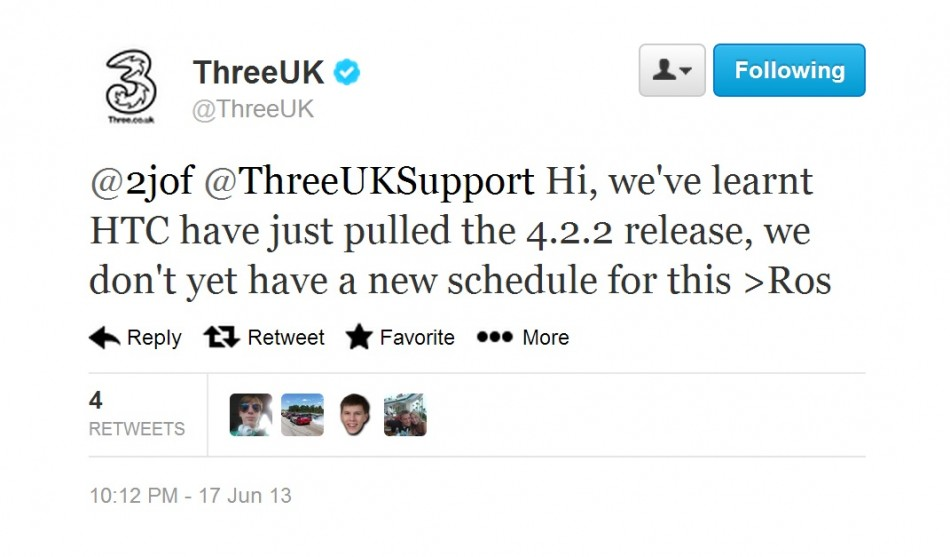 Thrre Twitter Post fro HTC One Android 4.2.2 Update (Courtesy: twitter.com/ThreeUK)