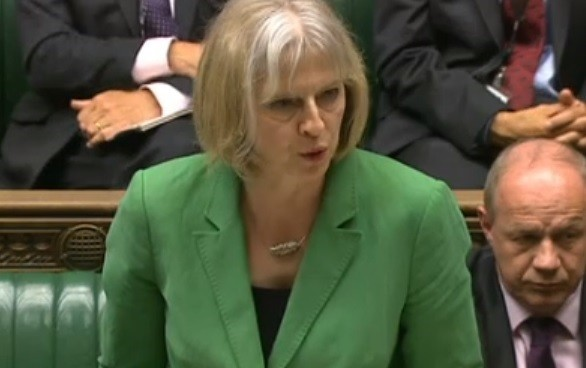 Home secretary Theresa May speaking to MPs