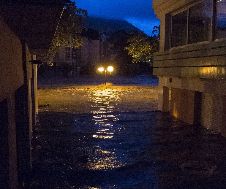 Waters almost reach street light bulbs after River Gave burst banks PIC: Monsignor Chris Brooks