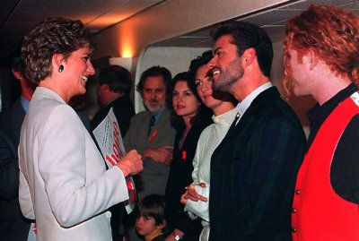 Princess Diana with Michael at Wembley Arena in London to mark World AIDS Day December 1 1993.